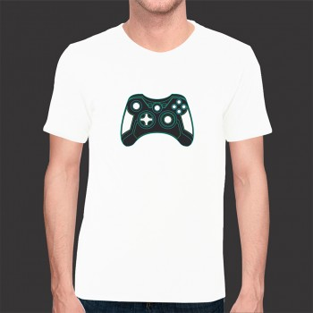 Camiseta Game Exclusiva Tron Joystick - Malha Fria Branca