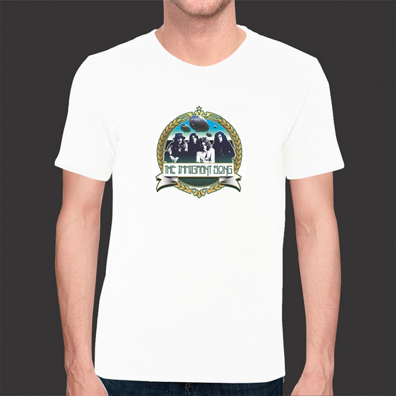 Camiseta Led Zeppelin Exclusiva Immigrant Song Rock - Malha Fria Branca