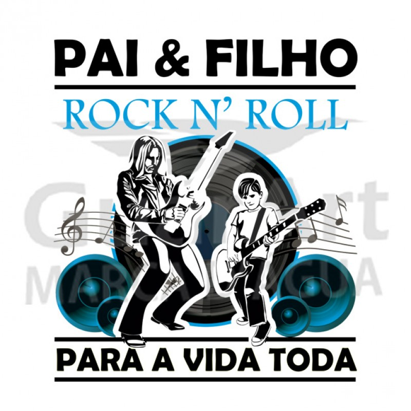 Camiseta Pai Guitarra Rock Exclusiva - Malha Fria Branca